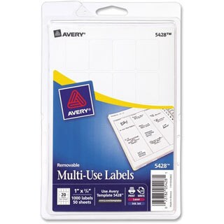 Avery White Print or Write Removable Multi-use Labels