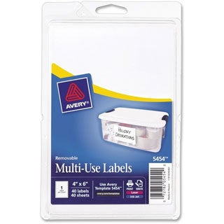 White Avery Print or Write Removable Multi-use Labels