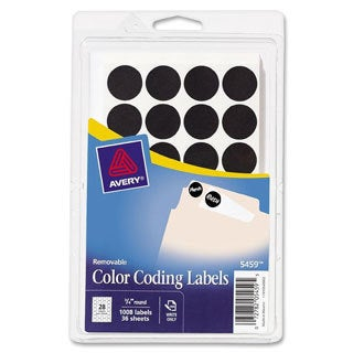 Black Avery Removable Self-Adhesive Color-coding