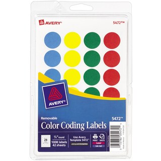 Assorted Avery Print or Write Removable Color-coding