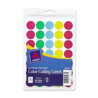 Assorted Avery See-Through Removable Color Dots- 3/4in