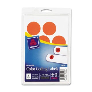 Avery Print or Write Orange Glow Removable Color-coding