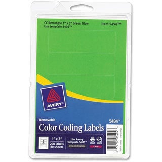 Green Glow Avery Print or Write Removable Color-coding