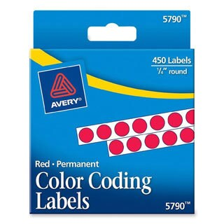 Red Avery Permanent Self-Adhesive Color-coding