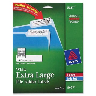 White Avery Extra-Large 1/3-Cut Filing Labels 3-7/16
