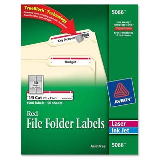 Red Avery Self-Adhesive Laser/Inkjet File Folder