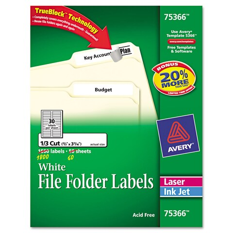 White Avery Permanent Self-Adhesive Laser/Inkjet File