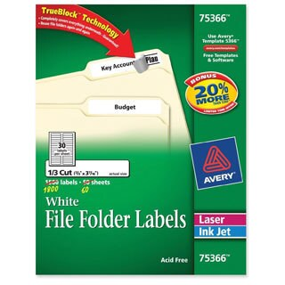 White Avery Permanent Self-Adhesive Laser/Inkjet File