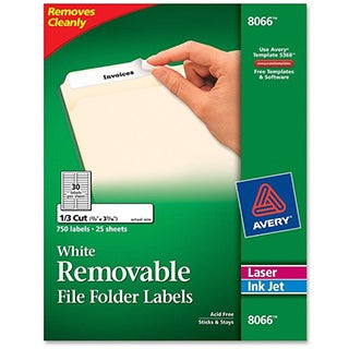 White Avery Removable Inkjet/Laser Filing Labels