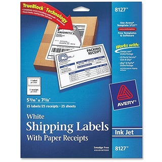White Avery Shipping Labels with Paper Receipt- 5 1/2