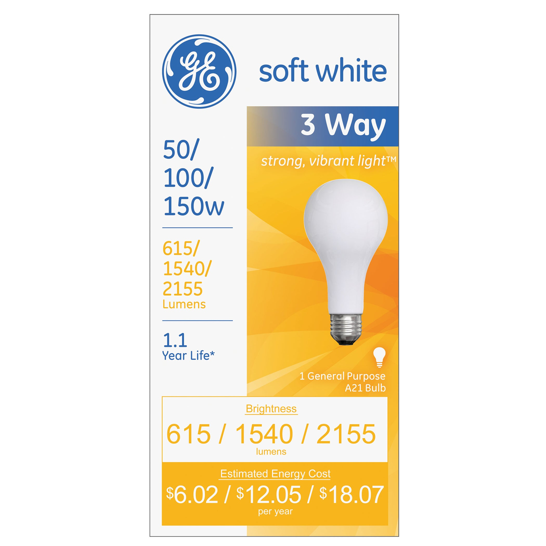GE Three-Way Soft White Incandescent Globe Bulb- (Glass)