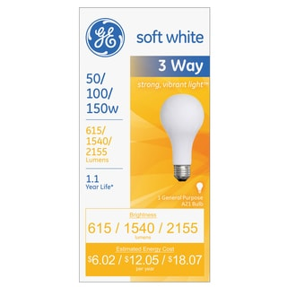GE Three-Way Soft White Incandescent Globe Bulb-