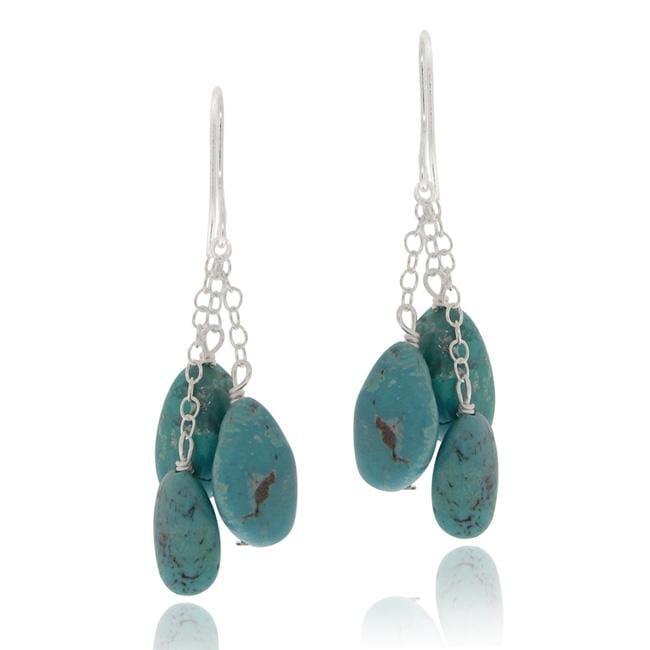 Glitzy Rocks Sterling Silver Turquoise Nugget Dangle Earrings