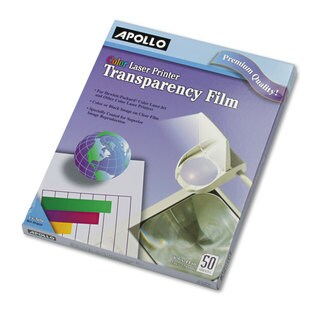 Apollo Color Laser Transparency Film with o Sensing Stripe Letter Clear 50/Box
