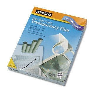 Apollo B/W Laser Transparency Film with Removable Sensing Stripe Letter Clear 100/Box