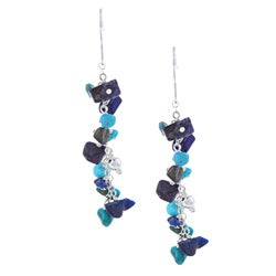 Glitzy Rocks Silver Turquoise and Lapis Chip Dangle Earrings