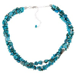 Glitzy Rocks Silver Turquoise Nugget and Chip 3-row Necklace