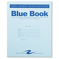 Roaring Spring Exam Blue Book, Wide Rule, 8.5 x 7, White, 4 Sheets/ 8 Pages