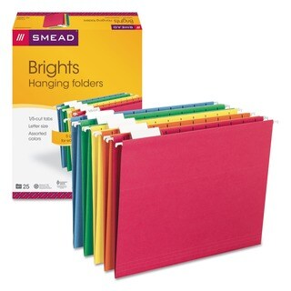 Smead 1/5 Tab 'Brights' Hanging File Folders (Pack of 25)