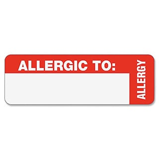 Red Tabbies Medical Labels for Allergy Warnings- 3 x
