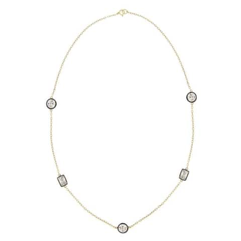 Icz Stonez 18k Gold over Silver 24-inch Cubic Zirconia Necklace