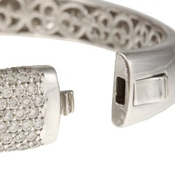 Sterling Silver Clear Cubic Zirconia Bangle Bracelet - Thumbnail 1