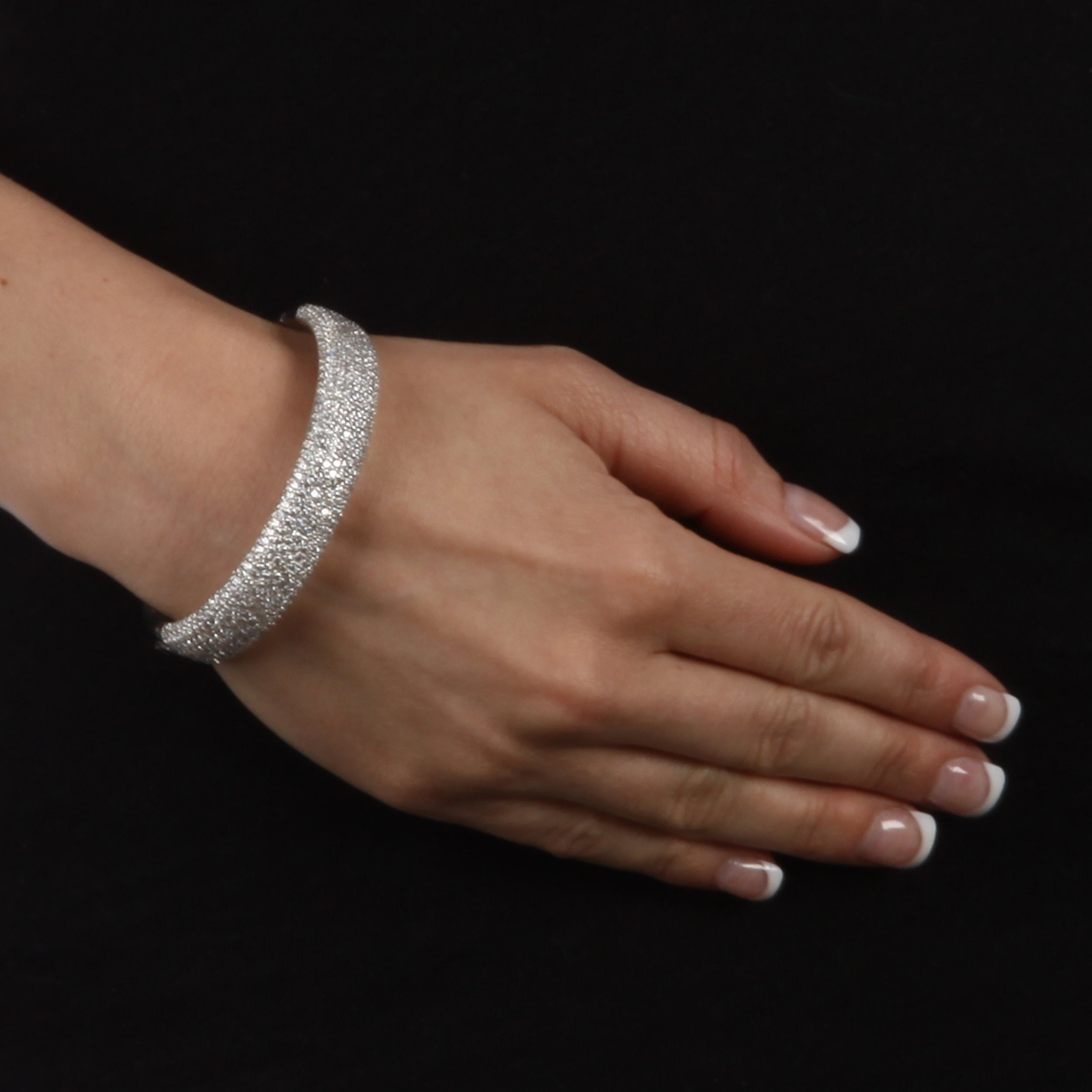 Sterling Silver Clear Cubic Zirconia Bangle Bracelet - Thumbnail 2