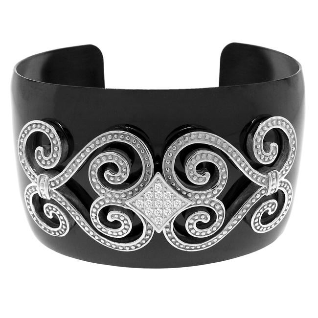 Black Stainless Steel Clear Cubic Zirconia Cuff Bracelet