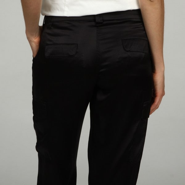 CJ by Cookie Johnson Women's Black Silk Cargo Pants - Free ...