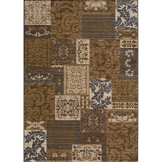 Illusion Power-loomed Damask Brown Rug (5'3 x 7'6)