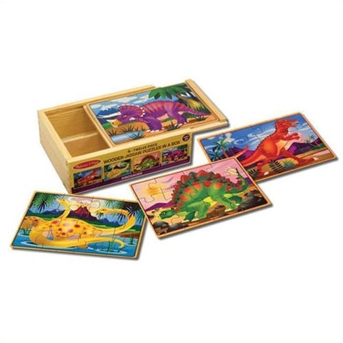 Melissa & Doug Dinosaurs Wood 12-piece Puzzles in a Box (Pack of 4)