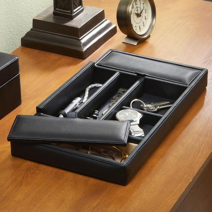 Royce Leather Men's Black Valet Tray