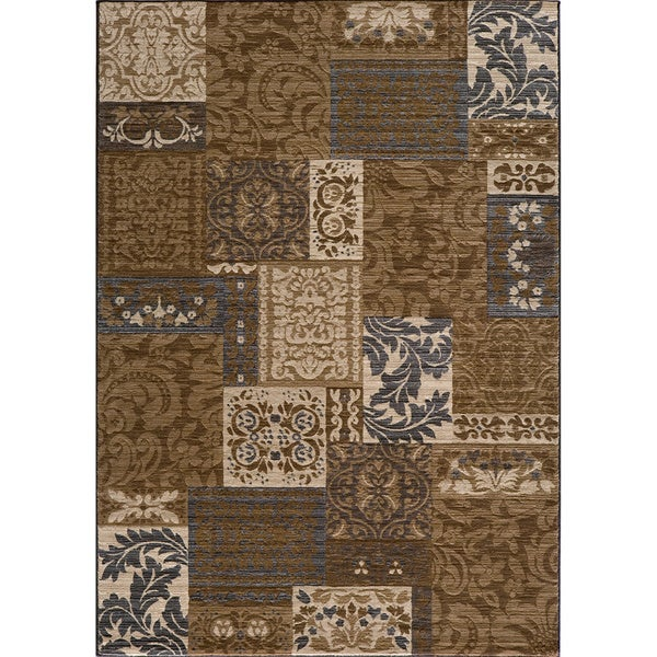 Illusion Power-loomed Damask Brown Rug (7'10 x 9'10)