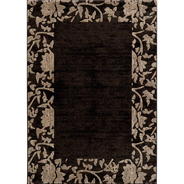 "Illusion Power-loomed Border Charcoal Rug - 7'10"" x 9'10"""