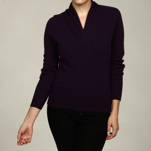 Oliver & James Women's Cashmere Surplice Faux Wrap Sweater FINAL SALE