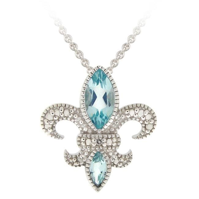 Glitzy Rocks Silver Blue Topaz and Diamond Fleur de Lis Necklace