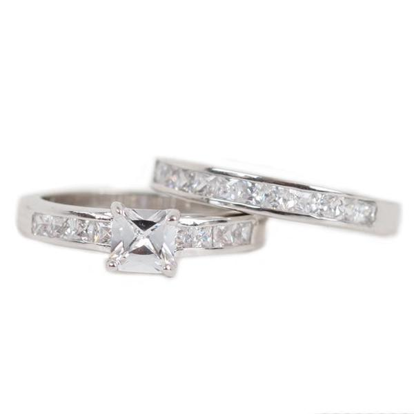 NEXTE Jewelry Silvertone Princess-cut Cubic Zirconia Bridal-style Ring Set