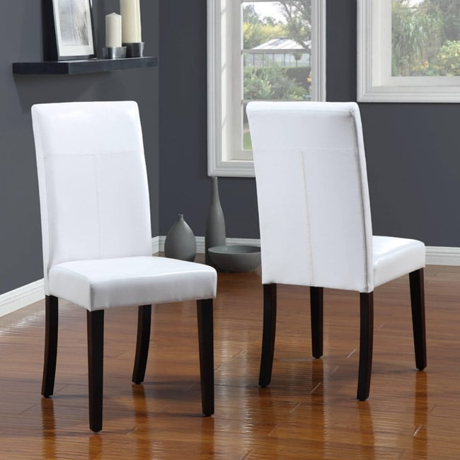 White T-Back Parsons Chair (Set of 2) - Thumbnail 0