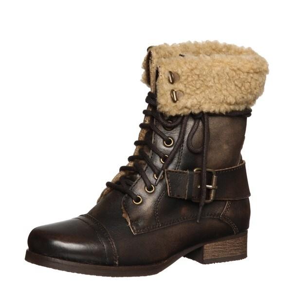 Diba Women's 'Miss You' Dark Brown Aviator Boots