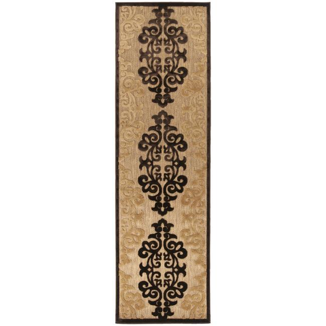 Woven Fenway Natural Indoor/Outdoor Damask Print Rug (2'6 x 7'10) - Thumbnail 0