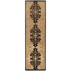 Woven Fenway Natural Indoor/Outdoor Damask Print Rug (2'6 x 7'10)