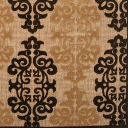 Woven Fenway Natural Indoor/Outdoor Damask Print Rug (3'9 x 5'8) - Thumbnail 2