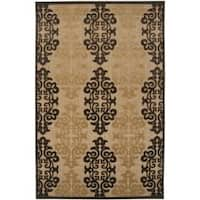 "Woven Fenway Natural Indoor/Outdoor Damask Print Area Rug - 3'9"" x 5'8"""