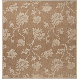 Woven Brookline Indoor/Outdoor Floral Rug (7'6 Square)