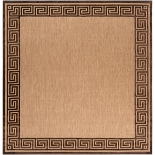 Woven Newbury Indoor/Outdoor Geo Border Rug (7'6 Square)