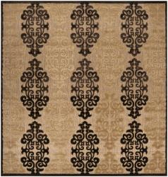 Woven Fenway Natural Indoor/Outdoor Damask Print Area Rug (7'6 Square) - 7'6 x 7'6