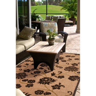 Woven Brighton Natural Indoor/Outdoor Floral Rug (5' x 7'6)