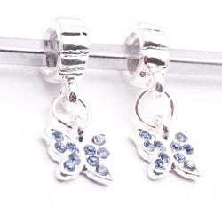 Silvertone Blue Butterfly Dangle Charm Beads (Set of 2)