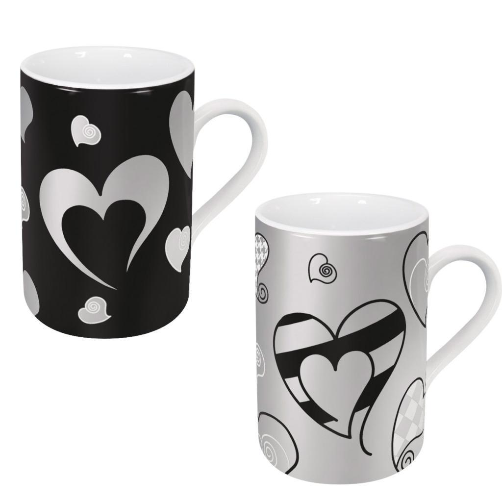 Konitz Silver Hearts Pattern Mugs (Set of 2)