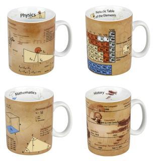 Konitz Physics, Math, Chemistry and History Science Mugs (Set of 4)